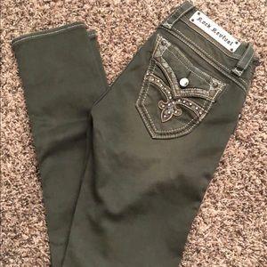 Rock Revival olive green skinny jeans